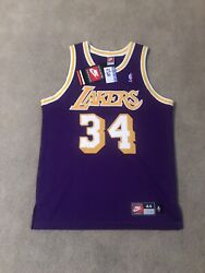 Shaquille O'neal Lakers Authentic Jersey Nike Size 44 Purple Nwt