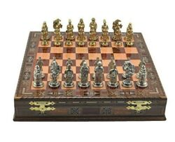 Metal Chess Set Large Ottoman Figures Rose Solid Wood Chess Board With Chest