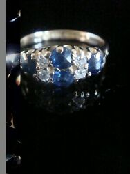 Edwardian 18ct Yellow Gold Old Cut Diamond And Natural Sapphire Boat Stacking Ring