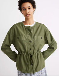 Madewell Claremont Drawstring Palm Tree Green Military Jacket Size Small