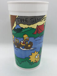 Rare 1990 Vintage The Simpsons Camping Fox Burger King 32oz Plastic Cup