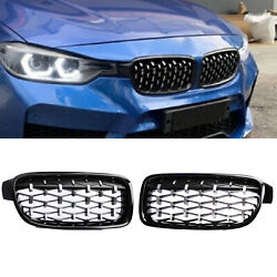 For BMW F30 F31 3 Series Front Kidney Grill Grille Chrome Black 2012 2018
