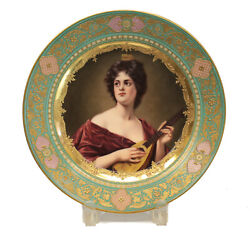 Royal Vienna Hand Painted Porcelain Cabinet Plate Beauty Playing Mandolin, C1900