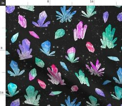 Watercolor Crystals Black Crystal Geology Space Spoonflower Fabric By The Yard