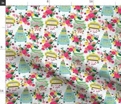 Four Wheels Marriage Honeymoon Wedding Taxi Just Spoonflower Fabric By The Yard