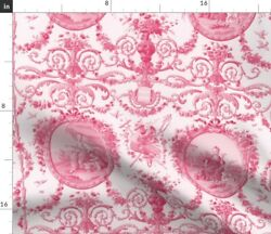 Pink Rococo Toile Girl Romantic Vintage Style Spoonflower Fabric By The Yard