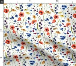 Wildflowers Floral Poppies Wildflower Fashion Spoonflower Fabric By The Yard