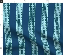 Stripe Turquoise Aqua Navy Hollywood Regency Spoonflower Fabric By The Yard