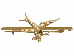 Sapphire Diamond And Seed Pearl 15ct Yellow Gold And039swallowand039 Bar Brooch - Antique