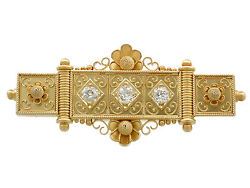 Antique Victorian 0.96 Ct Diamond And 18carat Yellow Gold Bar Brooch 1880s