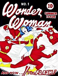 Wonder Woman 1 Cover With 1st App. The Flash Original Comic Art On Card Stock