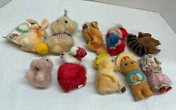Lot Of 10 Vintage Assorted Mixed Animals And Santa Claus Mini Stuffed Plush Toys