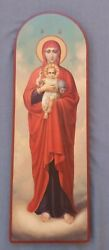 Large Antique 20c Russian Orthodox Hand Painted Icon Of Icon Blessed Heaven25.5