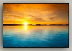 Canvas Wall Art Framed Beach At Sunset Landscape 12 X 16 In