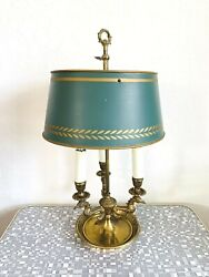 Mid Century Vintage French Bouillotte Brass Candlestick Table Lamp W/shade