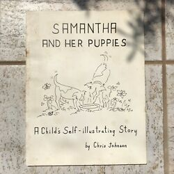 Samantha and her Puppies Self Illustration Book 1974 Vintage Hawaii Coloring $14.00
