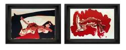 Paul Rebeyrolle Original Double Lithographs Ltd Ed. 2pc Set W/frame Included