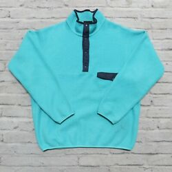 Vintage Snap-t Fleece Pullover Size L Made In Usa Turquoise Synchilla
