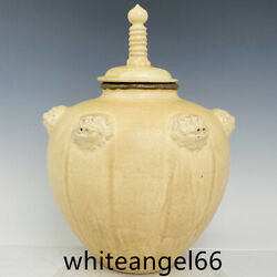 15.3andrdquo Old Antique Song Dynasty Ci Zhou Kiln Porcelain Foo Dog Head Covered Pot