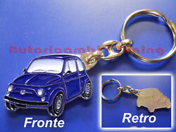 Key Ring Car Fiat 500 Old Metal Painted Blue