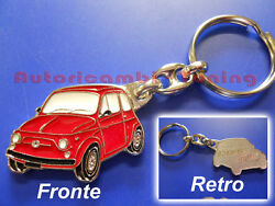 Key Ring Car Fiat 500 Old Metal Painted Red