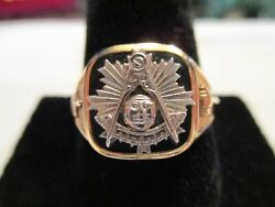 14 Kt Gold Masonic Ring Two Tone With Black Onyx Face