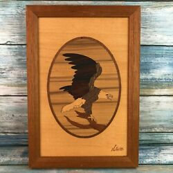 Small Vintage Hudson River Inlay Bald Eagle Wooden Marquetry Wall Hanging Signed