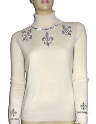 Luxe Oh` Dor 100 Cashmere Sweater Luxury Pearl White Silver 42/144 5/12ft / L