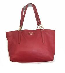 COACH Ellis Chicago Tote Red Pebbled Leather Large 33961 MSRP $298 $45.00