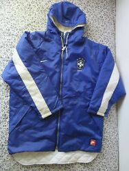 Vintage Rare Nike Brazil Soccer Futbol Hooded Quilted Jacket L Made In Usa
