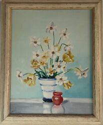 Vintage Art Deco Painting O/c Still Life With Flowers Signed Dated 1932