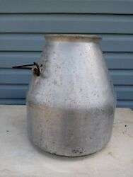 Large Antique Wear Ever Aluminum Dairy Milk Container Bucket With Handle Farm