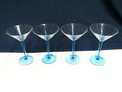 Bombay Sapphire Gin Collectible Martini Glass Blue Stem 7 - Set Of Four 4