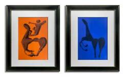 2 Marino Marini Original Ltd Edition Lithographs 2pc Set Sign W/frame Included