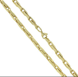 14k Yellow Gold Handmade Paperclip Chain 5mm Solid Brand New Highly Polished