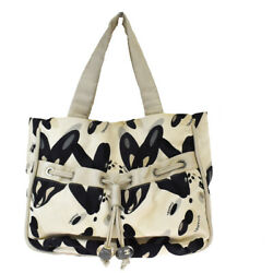 Authentic CHANEL CC Logo Shoulder Tote Bag Canvas Leather Ivory Italy 80MH338 $518.00