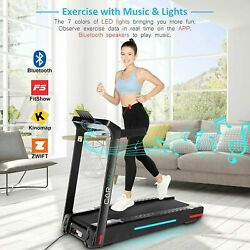Heavy Duty Folding Incline Treadmill Electric Running Machine 7 Color Led Lights