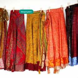 5 Pc Lots Recycled Indian Handmade Hippie Silk Sari Wrap Floral Women Skirts