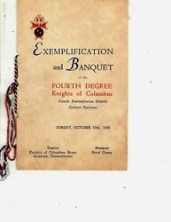 1948 Exemplification And Banquet 4th Degree Knights Of Columbus - Program Scranton