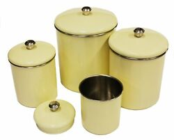 Set Of 4 Stainless Steel Yellow Sand Canister Set Beautiful Warmth Counter Top