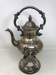 Vintage Sheridan Silver On Copper Tilt Tea Pot Coffee With Stand