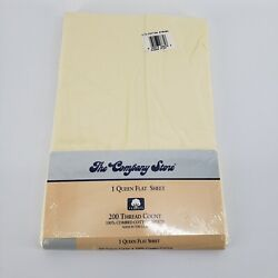 New Vintage The Company Store 100 Combed Cotton Queen Flat Sheet Light Yellow