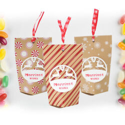 24pcs Christmas Favors Bags Biscuits Candy Apple Holders Containers For Holiday