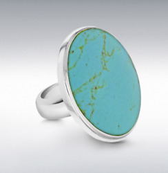 Sterling Silver Ladies Oval Turquoise Ring 31mm