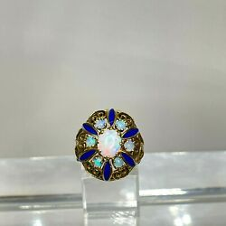 Antique Victorian 14k Yellow Gold Opals With Blue Enamel Dome Ring