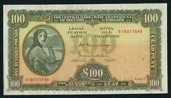 100 Irish Pounds Series A Lavery Banknote Central Bank Of Ireland 4.4.77 Rare