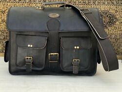 18 Inch Men Vintage Leather Shoulder Satchel Laptop Bag Messenger Handmade Bag $61.00