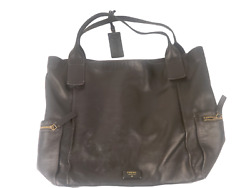 Fossil Women Large Black Leather Tote Handbag Hobo $39.99