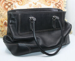 LOVELY WOMEN#x27;S COACH HAMPTONS BLACK LEATHER TOTE SHOULDER CARRYALL PURSE BAG $24.99