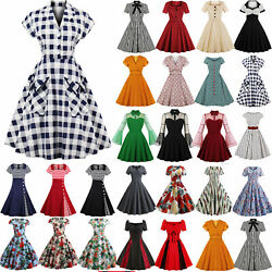 Ladies 50s 60s Vintage Style Pinup Swing Women Party Rockabilly Housewife Dress